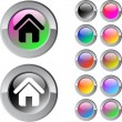 Home multicolor round button. — Vector de stock