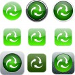 Recycle green app icons. — Stock Vector
