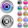 Stock Vector: Delete cross multicolor round button.