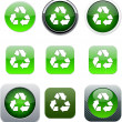 Recycling green app icons. — Stock Vector