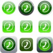 Royalty-Free Stock Vector Image: Call green app icons.