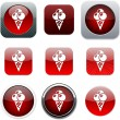 Stock Vector: Icecream red app icons.