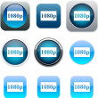 Stock Vector: 1080p blue app icons.