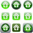 Green home app icons. — Stock Vector