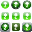 Royalty-Free Stock Vector Image: Tree green app icons.
