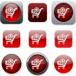Stock Vector: Add to cart red app icons.