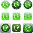 Money exchange green app icons. — Stock Vector #6156684