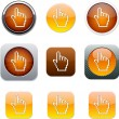 Pixel hand orange app icons. — Stock Vector