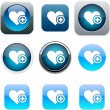 Add to vavorite blue app icons. — Stock Vector