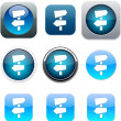 Road arrows blue app icons. - Stock Vector