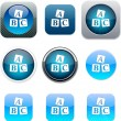 ABC cubes blue app icons. — Stock Vector