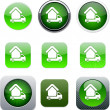 Camper green app icons. — Stock Vector