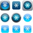 Stock Vector: Asterisk blue app icons.