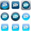 Blog blue app icons. — Stock Vector #6156716