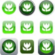 Stock Vector: Macro green, app icons.