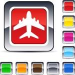 Aircraft square button. — Stock Vector #6156787