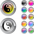 Ying yang multicolor round button. — Vector de stock