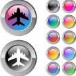 Aircraft multicolor round button. — Stock Vector