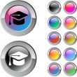 Graduation multicolor round button. — Vector de stock