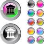 Exchange multicolor round button. — Stock Vector #6159232