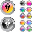Icecream multicolor round button. — Stockvectorbeeld