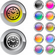 Stock Vector: Time multicolor round button.