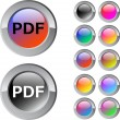 PDF multicolor round button. — Stock Vector