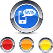 SMS round button. — Stockvectorbeeld