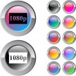 1080p multicolor round button. — Stock Vector