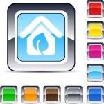 Green home square button. — Stock Vector #6159278
