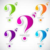 Renkli kağıt soru işareti konuşma — Stok Vektör