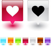 Heart square button. — Stock Vector