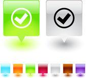 Mark square button. — Stock Vector