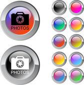 Photos multicolor round button. — Stock Vector