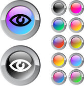Eye multicolor round button. — Stock Vector