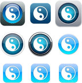 Ying yang blue app icons. — Stock Vector