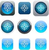 Icônes app vue bleu. — Vecteur