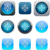 Sight blue app icons. — Stock Vector