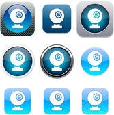 Webcam blue app icons. — Stock Vector
