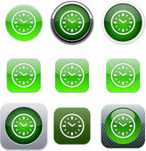 Time green app icons. — Stock Vector