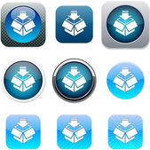 Package blue app icons. — Stock Vector