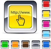 Www clique botão quadrado. — Vetorial Stock