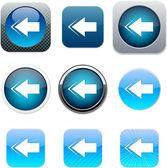 Back arrow blue app icons. — Stock Vector