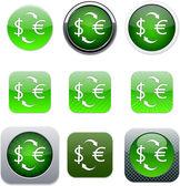 Money exchange green app icons. — Stock Vector