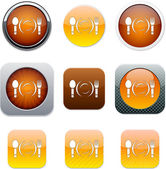 Dinner orange app icons. — Stock Vector