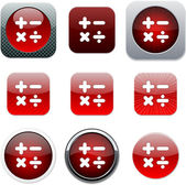 Calculate red app icons. — Stock Vector