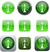 Hookah green app icons. — Stock Vector