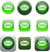 SMS green app icons. — Stockvector