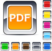 PDF square button. — Stock Vector