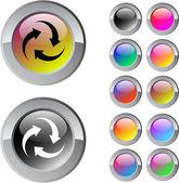 Forum çok renkli yuvarlak düğmesi. — Stockvector